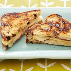 Not-Your-Average Grilled Cheese: Cinnamon-raisin bread, havarti #cheese, and apple slices to combine this delicius savory/sweet #sandwich!