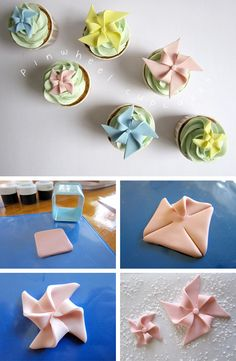 How to make easy fondant pinwheel cupcake toppers.