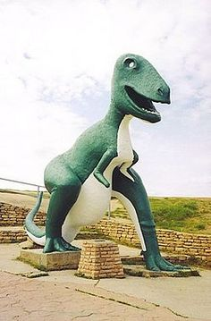 Dinosaur Park is a tourist attraction in Rapid City, South Dakota, United States. Dedicated on May 22, 1936, it contains seven dinosaur sculptures on a hill overlooking the city, created to capitalize on the tourists coming to the Black Hills to see Mount Rushmore. ♥ @Visit Rapid City