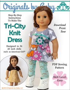 Pixie Faire Originals By Gaby Tri-City Knit Doll Clothes Pattern for 18 inch American Girl Dolls - PDF de PixieFairePatterns en Etsy https://www.etsy.com/mx/listing/224464341/pixie-faire-originals-by-gaby-tri-city
