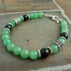 Mens Bracelet Green Aventurine & Bloodstone by mamisgemstudio, $27.95