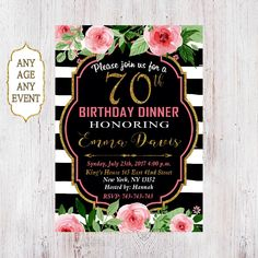Image result for retirement party invitations templates cowboy 70th birthday dinner invitation 70th birthday invitation floral 70th birthday invitation gold glitter stopboris Images