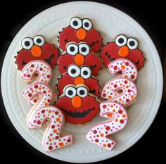 Decorated Custom Elmo and Pink Number Cookies, Perfect for your Girl's Birthday Party