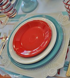 Turquoise & Scarlet Fiesta® Dinnerware place setting | The Little Round Table