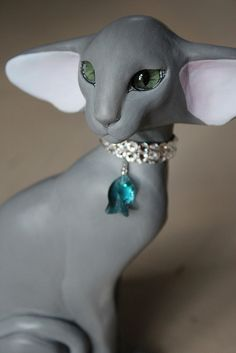 Blue Oriental Cat Sculpture.