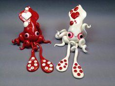 Polymer Clay Commission - Valentine Squids by ShaidySkyDesign.deviantart.com on @deviantART