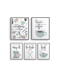 Funny Brown Blue Kitchen Wall Decor, Brown Kitchen wall art prints set, Kitchen prints, Modern Home Decor, Dining room decor