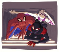 The Spider-Trio crawling in a vent Comics Spiderman, Marvel Dc Comics, Marvel Avengers, Captain Marvel, Spider Art, Spider Verse, Spiderman And Spider Gwen, Neko Girl, Marvel Drawings