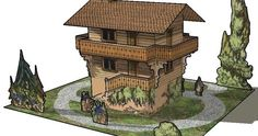 PAPERMAU: Grand Chalet In The Alps Vintage Paper Model - by Agence Eureka