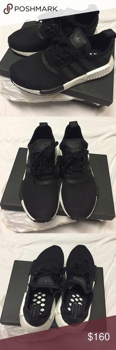 adidas nmd runner r1 pk triple black yellow trainers sale