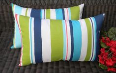 SET OF 2 Pillow Covers - Indoor / Outdoor Rectangle / Lumber Decorative Pillow Covers - Baja Turquoise Blue, Lime Green, Coral Stripe