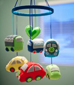 Baby VW Volkswagen Bus and Beetle Nursery Mobile Mobiles, Baby Diy Projects, Projects To Try, Hippie Nursery, Hippie Baby, Baby Boy Rooms, Kids Rooms, Baby Room, Volkswagen Bus