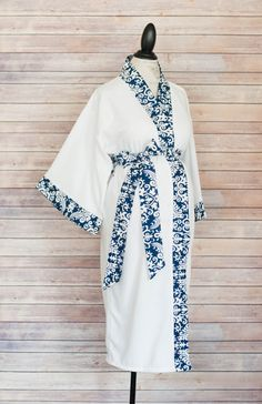 Maternity Kimono Style Robe Navy Damask Coordinate as a by modmum  #modmum #deliverinstyle #etsy #hospitalgown #baby #mom #pregnancy #delivery #maternity #pushpresent #navy #blue #robe #kimono