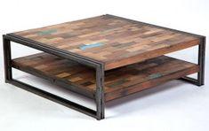 Table basse industrielle carée métal et bois recyclé