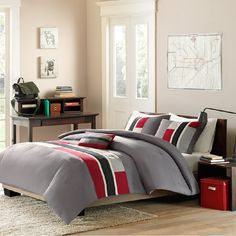 Pipeline in Red, Navy, Gray and White Comforter Sets by Mizone