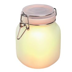 Esotec 102078 Solar Light in Satin-Finish Glass Preserving Jar, Optional Light Colours