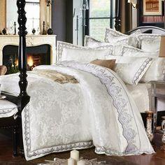 4/6 Pieces White Jacquard Silk Cotton Luxury Bedding Set King Size Queen