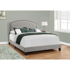 Monarch Specialties Grey Queen Bed Frame at Lowe's. Add style, elegance and a comfortable element to your bedroom with this contemporary designed queen size bed frame. Featuring a chic grey linen fabric and Best Platform Beds, Platform Bed Frame, Upholstered Platform Bed, Grey Bedding, Luxury Bedding, Linen Bedding, Linen Fabric, California King Mattress, Night And Day Furniture