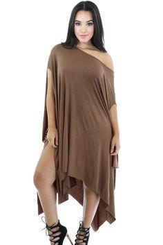 54bf0267fe Dark Khaki Asymmetrical Draped Tunic Dress. Cheap Club DressesStylish  DressesWomen s ...