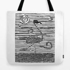 Flamingo Tote Bag - black and white flamingo block print tote bag. Digitally printed from a linoleum carving. Black and white Florida flamingo tote bag.