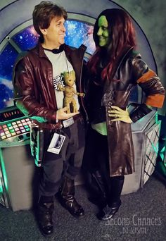 DIY Star Lord and Gomora couples costumes! Mens Leather Coats, Rub N Buff, Silver Spray Paint, Mens Overcoat, Trunk Or Treat, Second Chances, Movie Props, Star Lord, Diy Halloween Costumes