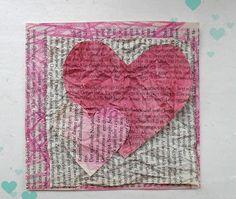 Turquoise Tepid Teadrop: Valentinstagkarte aus alten Buchseiten // Valentine's Day Card Made Of Old Book Pages