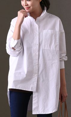 dd406543b84 women white cotton tops plus size clothing shirts Elegant big pockets  asymmetric hem cotton shirts
