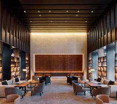 hotel entrance hotel lounge MQ Studio designs The PuXuan hotel inside Guardian Art Center in Beijing Lounge Design, Lounge Decor, Design Hotel, Lounge Chair, Chair Design, Hotel Lounge, Office Lounge, Lobby Lounge, Lobby Bar