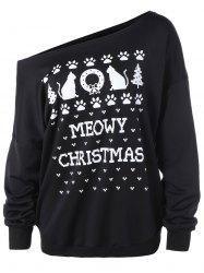 #Gamiss - #Gamiss Plus Size Meowy Christmas Graphic Sweatshirt - AdoreWe.com
