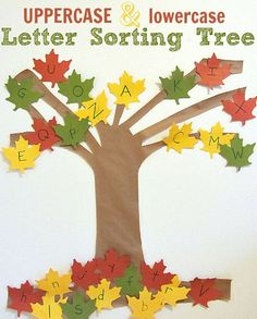 Letter Sorting Tree - fall themed alphabet activity