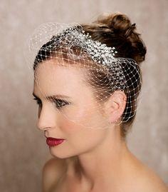 Birdcage Veil Bridal Comb, Crystal Bird Cage Veil, Silver Rhinestone Wedding Veil, Bridal Veil, Rhinestone Fascinator - The Felina Veil