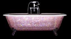 sparklie pink, spark bathtub, dream, pink bathtub, sparkly houses, swarovski crystals, pretty things for girls, bathroom, sparkly pink