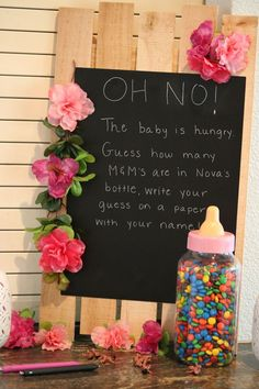Guess how many candies in the baby bottle? Baby shower game - Floral Theme - Bab - Guess how many candies in the baby bottle? Baby shower game – Floral Theme – Bab… – Source by Best Kadın Cute Baby Shower Ideas, Fun Baby Shower Games, Baby Girl Shower Themes, Girl Baby Shower Decorations, Baby Shower Gender Reveal, Baby Shower Parties, Girl Baby Showers, Baby Shower For Girls, Baby Shower Guessing Game