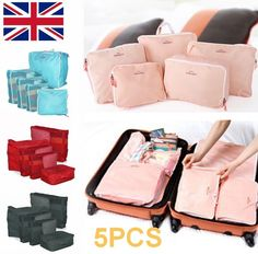 Travlling Luggage Suitcase Storage Bags Organizer 5 in 1 Case for Socks Suit New