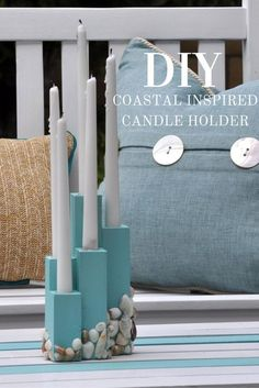 DIY yourself a Coastal Inspired Candle Holder for any indoor or outdoor space in your home. Perfect for a beach decor theme or for the warmer months!