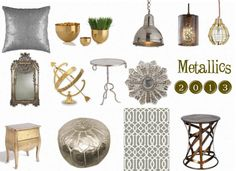 Metallics are absolutely everywhere right now from lampshades, to toss pillows, to furniture. Brass is back and golds are hot! But don't worry, chrome and silver are still going strong as well. This year, don't be afraid to mix your metals which adds depth and interest to your space.
