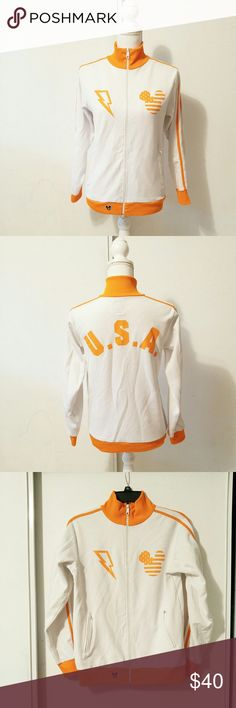 "It's Mickey size small white and orange jacket BRAND: it's mickey  SIZE: small  FLAW: piling  COLOR: orange and white  DESCRIPTION: It's Mickey white jacket with orange trim. Mickey mouse logo and lightening bolt on the front. On the back is U.S.A. has a zip up pockets in the front. Very cute and perfect for any Disney lover.  The mannequin measurements are:  Shoulders: 15"" Chest: 34"" Waist: 26.7"" Hip: 35.4""  Use #bishoujo to sort for your size. Please note I do have several pets, but all…"