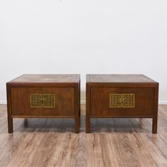 This pair of asian inspired end table cabinets are featured in a solid wood with a rustic oak finish. These side tables are in good condition with a large interior cabinet, 2 doors with brass carved hardware and a raised leg base. Perfect as nightstands with storage! #asian #tables #endtable #sandiegovintage #vintagefurniture