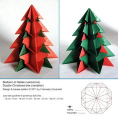 Origami: Bialbero di Natale, variante - Double Christmas tree, variant: Designed and folded by Francesco Guarnieri, November 2011.