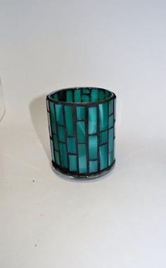 Teal Mosaic Candle holder by RebelGlassWorks on Etsy, $15.00
