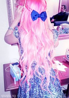 Hot Pink Hair   Bow Tie
