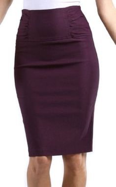 42d7186753 Sakkas Petite High Waist Stretch Pencil Skirt With Shirred Waist Detail -  Plum / L