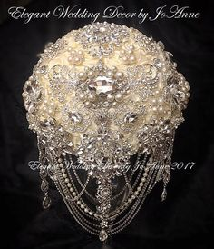 Ivory and Silver JEWELED WEDDING BOUQUET Custom Silver Brooch
