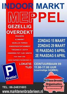 Vandaag Indoor Paasmarkt in Meppel. http://koopplein.nl/middendrenthe/1655765/braderie%C3%ABn-en-vlomarkten-in-drenthe.html