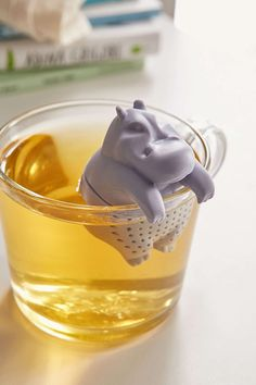 A hippo who'll infuse your tea with glee.