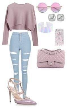 """""""71"""" by manii13k on Polyvore featuring Chicnova Fashion, Topshop, Valentino, Chanel, Skinnydip and Frederic Sage"""
