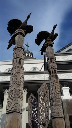 Dayak Totems, Cathedral St. Joseph, Pontianak, Indonesia Borneo, Mystic, Cathedral, Environment, Things To Come, Ocean, Building Designs, Culture, St Joseph