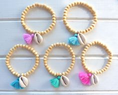gypsy mermaid wooden bead tassel cowrie shell bracelets beach boho