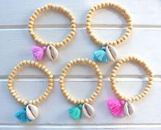 gypsy mermaid wooden bead tassel cowrie shell bracelets beach boho