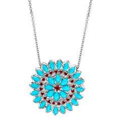 """Paul Morelli """"Appliqué"""" Turquoise & Spinel Pendant - Fave Summer colors!"""